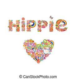 letras, flor, hippie, colorido, corazón, simbólico, aislado, flores, forma, plano de fondo, impresión, paloma blanca