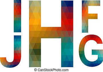 letras, g, alfabeto, j, i, h, f, mosaico