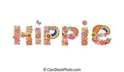 letras, hippie, colorido, girasoles, impresión, flores