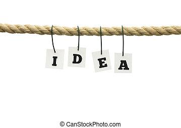 letras, -, idéia, corda, penduradas, soletrando