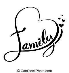 Letras, Ilustración, familia, corazón, formado,  vector