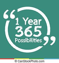 letras, ilustración, posibilidades, 1, diseño, año, 365