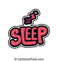 letras, ilustración, sueño, marco, cosido, zzz