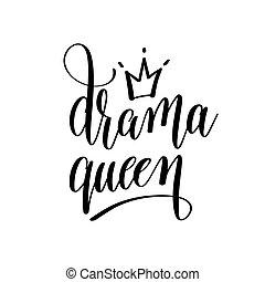 letras, inscripción, reina, mano, drama, negro, blanco