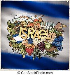 letras, israel, elementos, país, mano, doodles