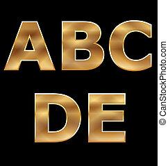 letras, jogo, a-e, ouro