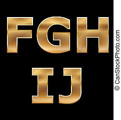 letras, jogo, f-j, ouro
