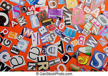 letras, jornais, corte, revistas