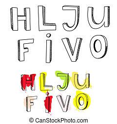 letras, l, v, este prego, j, u, i, h, f