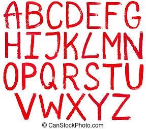 letras, mão, pintura, escrito, capital, vermelho