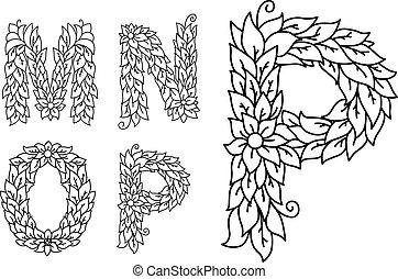 letras, m, este prego, p, floral, n