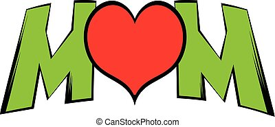 letras, mamá, y, corazón, icono, icono, caricatura