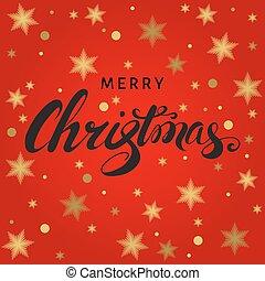 letras, mano, fondo., rojo, tarjeta de navidad