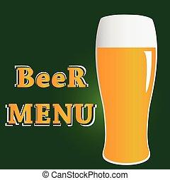 letras, menú, volumen, vidrio, cerveza, vector