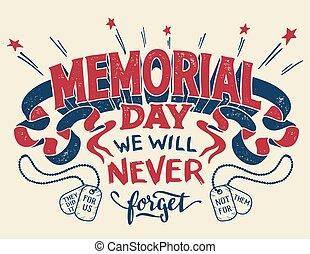 letras, monumento conmemorativo, saludo, mano, día, tarjeta