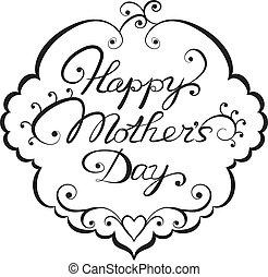 letras, mother', día, feliz