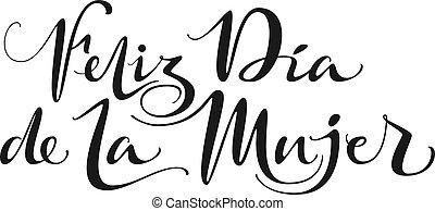 letras, mujer, la, feliz, de, dia, spanish., texto, ...