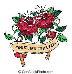 letras, mutuo, ribbon., love., tatuaje, forever., valentines, dos, ilustración, rosas, juntos, día, cinta, rojo