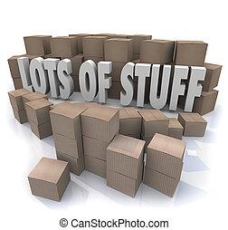 letras, pilhas, lotes, cercado, desoganiza㧡o, ilustrado, confusão, caixas, material, palavras, papelão, pilhas, 3d
