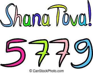 letras, rosh, garabato, bosquejo, tova, hashanah., shana,...