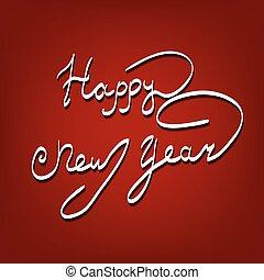 letras, saludo, año, nuevo, tarjeta, feliz