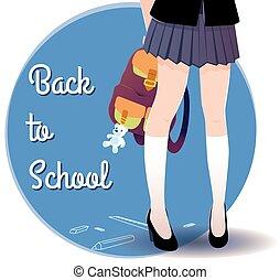 letras, school., espalda, japonés, bolsa, colegiala, piernas