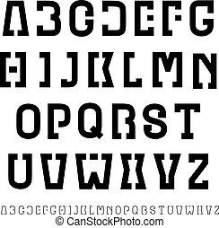 letras, simples, alfabeto, vetorial, pretas, fonte