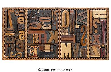 letras, sinais, pontuação, vindima, números