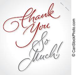 letras, usted, agradecer, (vector), mano