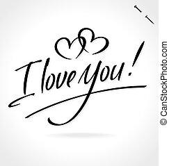letras, usted, amor, (vector), mano