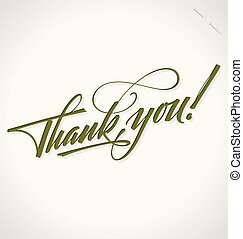 letras, usted, vector, agradecer, mano