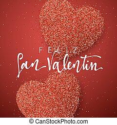 letras, valentines, inscripción, handmade., day., español,...