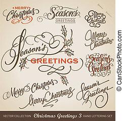letras, vector, conjunto, navidad, mano