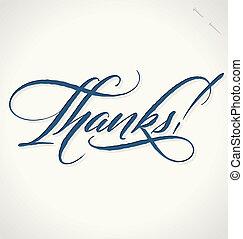 letras, vector, gracias, mano