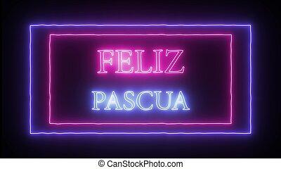 """letrero de gas de neón, """"feliz, pascua"""", pascua feliz, en,..."""