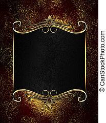 letrero nombre, oro, ornamento, red-golden, fondo negro