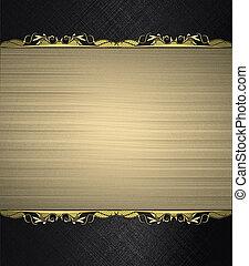 letrero nombre, oro, trim., sitio, fondo negro, diseño,...