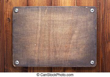 letrero nombre, plano de fondo, tornillos, de madera