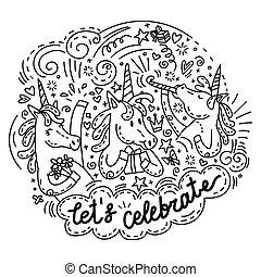 lets, celebrar, unicornio