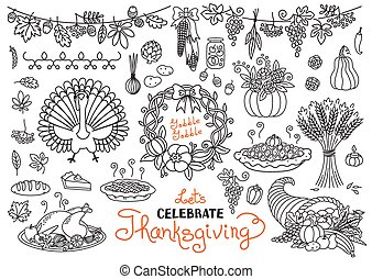 Let's celebrate Thanksgiving Day doodles set. Traditional symbols - thanksgiving turkey, pumpkin pie, corn, cornucopia, wheat. Freehand drawings collection isolated.
