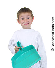 Let\'s Clean Up - Young boy with dust pan