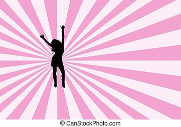 Female dancing on retro background