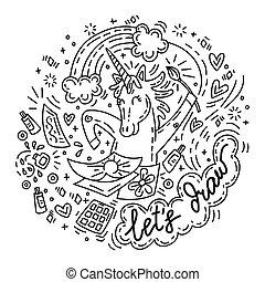 Lets draw unicorn - Funny cute unicorn in good mood enjoy ...