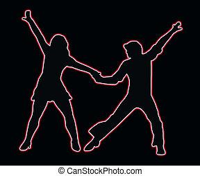 lets, fél, tánc, 70, neon, áttekintés, párosít