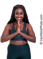 Let's get into shape! - Beautiful large african woman doing...