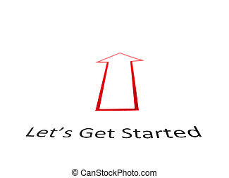 Lets Get Started text with red arrow