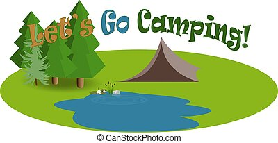 Let's go camping. Travel rest nature illustration in vector style. Summer forest place and tent close to lattractive ake with beatifull water lily and bush of reeds.