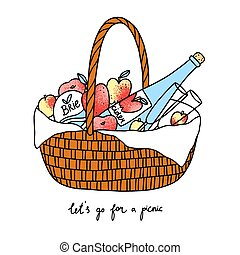 Lets go for a picnic, basket with fruits, cheese and cider, vector illustration
