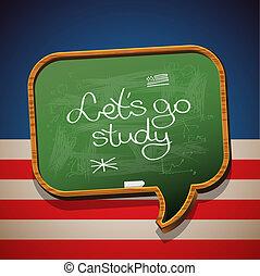 Let's go study - handwritten on blackboard