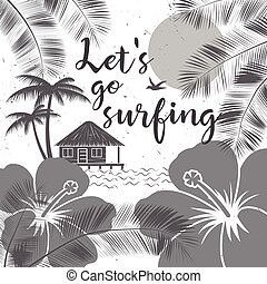 Let's go surfing design. Vector Summer surfing retro banner. Surfing concept for shirt or logo, print, stamp. Surf icon design. - stock vector.